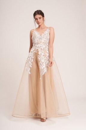La Vita e Bella Erkek Bej Tül Çiçek Motif İşlemeli Uzun Abiye Elbise 0