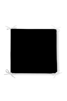 Realhomes Düz Siyah Renkli Dijital Baskılı Fermuarlı Sandalye Minderi 42*42cm 0
