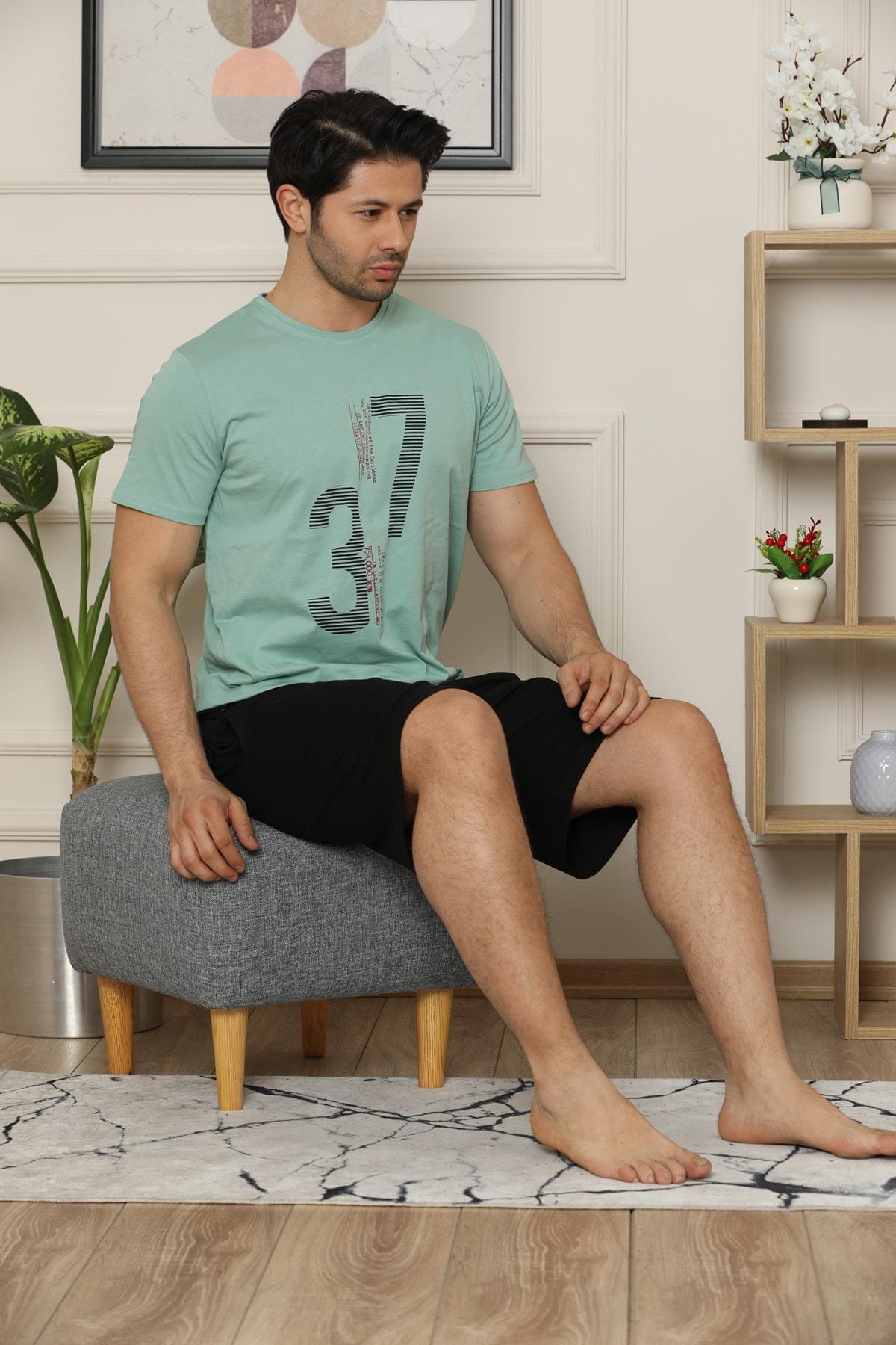 ARCAN Erkek Şortlu Kısa Kollu Baskılı Pijama Takımı