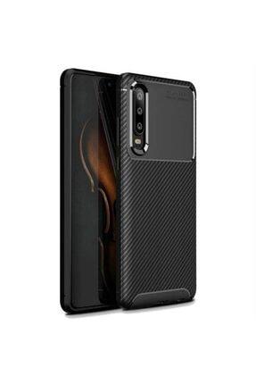 Ack Huawei P30 Kılıf Slim Fit Kamera Korumalı Karbon Silikon Siyah 0