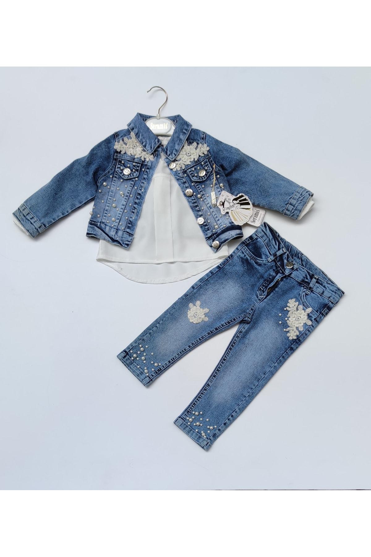 Kız Çocuk Mavi Kot Ceket Pantolon Gömlek Üçlü Takım