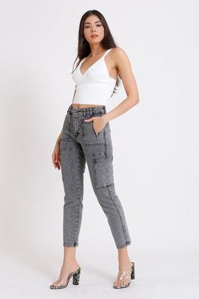 FAF Denim Kadın Gri Yüksek Bel Fermuarlı Mom Jeans 2