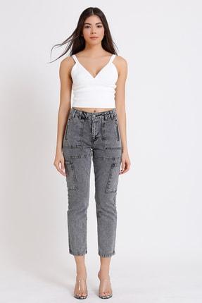 FAF Denim Kadın Gri Yüksek Bel Fermuarlı Mom Jeans 3