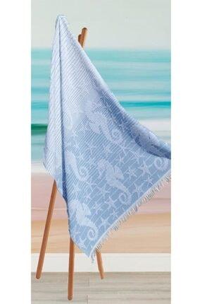 Riva Havlu Peştemal, Plaj Havlusu, Banyo Havlusu, Mavi Denizatı Desen 1