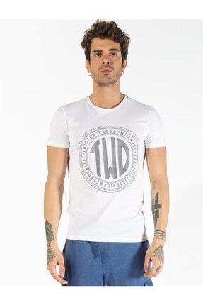 Erkek  Beyaz Twıster Jeans 1407 Bb Büyük Beden Baskılı T-shırt resmi