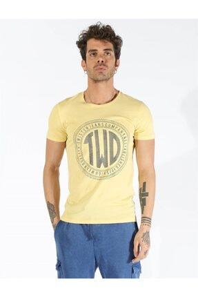 Erkek Sarı Büyük Beden Baskılı T-shirt 1407 Bb resmi