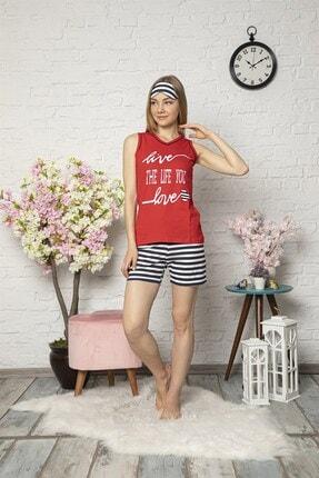 Mirano Kadın Kırmızı Love Baskılı Şortlu Pijama Takım 2