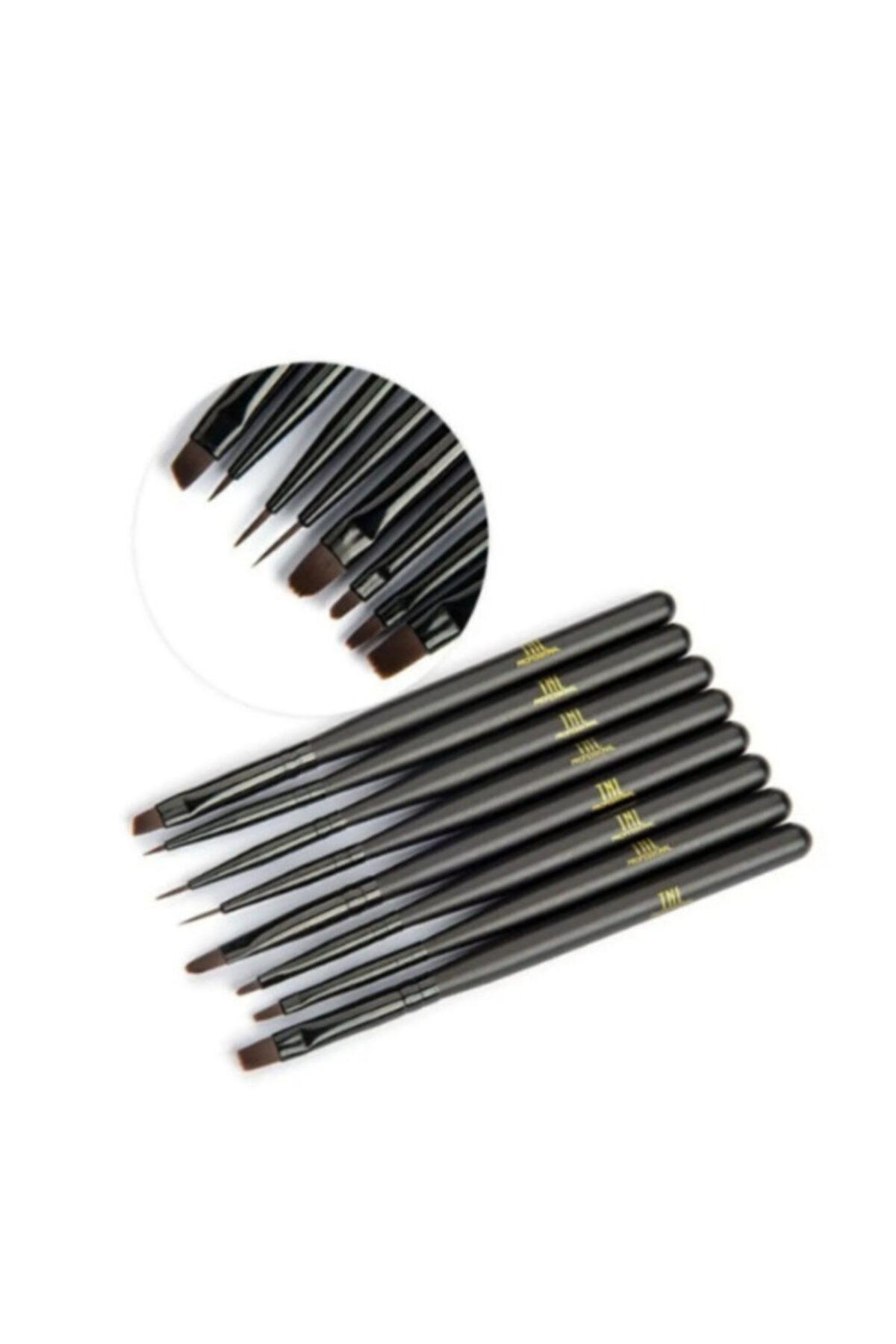 Siyah 8'li Lüx Jel Ve Nail Art Fırça Takımı