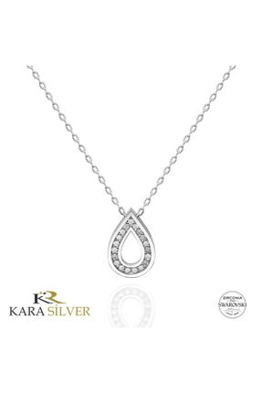 Kara Jewelry Swarovskı 925 Ayar Gümüş Damla Temalı Kolye 1