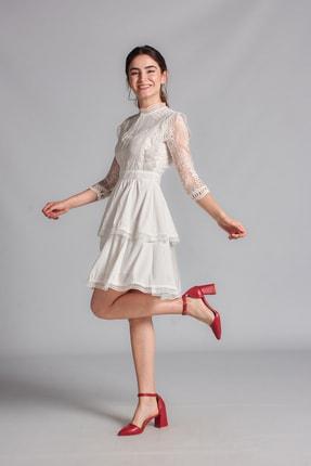 Housebutik Kadın Beyaz Güpür Detay Kat Kat Elbise 1