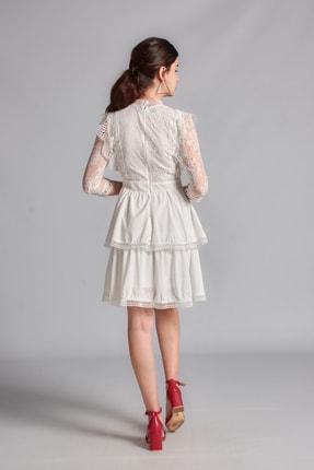 Housebutik Kadın Beyaz Güpür Detay Kat Kat Elbise 3