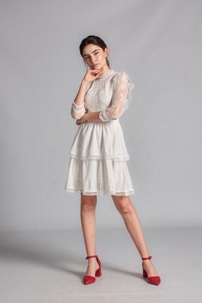 Housebutik Kadın Beyaz Güpür Detay Kat Kat Elbise 4