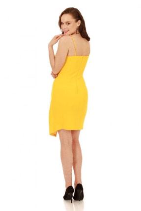 6ixty8ight Sarı Askılı Yandan Tokalı Kısa Abiye Elbise 2