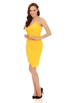 6ixty8ight Sarı Askılı Yandan Tokalı Kısa Abiye Elbise 3