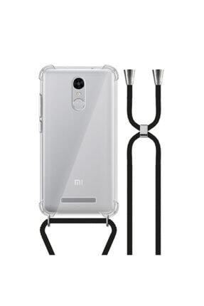 MobileGaraj Xiaomi Redmi Note 3 Uzy Şeffaf Boyun Askılı Siyah Şeritli Kılıf+kitap 0