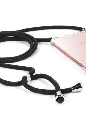 MobileGaraj Xiaomi Mi 8 Lite Uzy Şeffaf Boyun Askılı Siyah Şeritli Kılıf+kitap 2