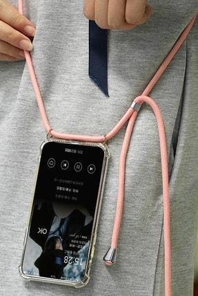 MobileGaraj Xiaomi Mi 9 Uzy Şeffaf Boyun Askılı Pembe Şeritli Kılıf+kitap 4
