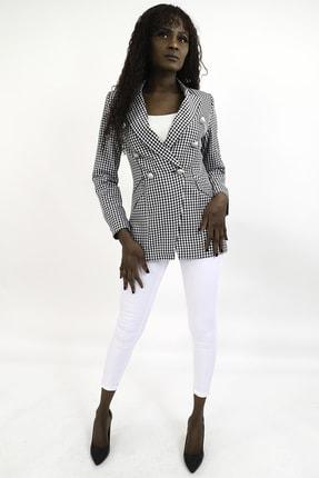 MiraSamanci Kadın Siyah Pötikare Desen Kruvaze Blazer Ceket 1