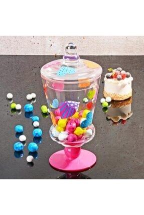 Homekolik Cam Kapaklı Kalp Fanus Draje Şekerlik Sunumluk 0