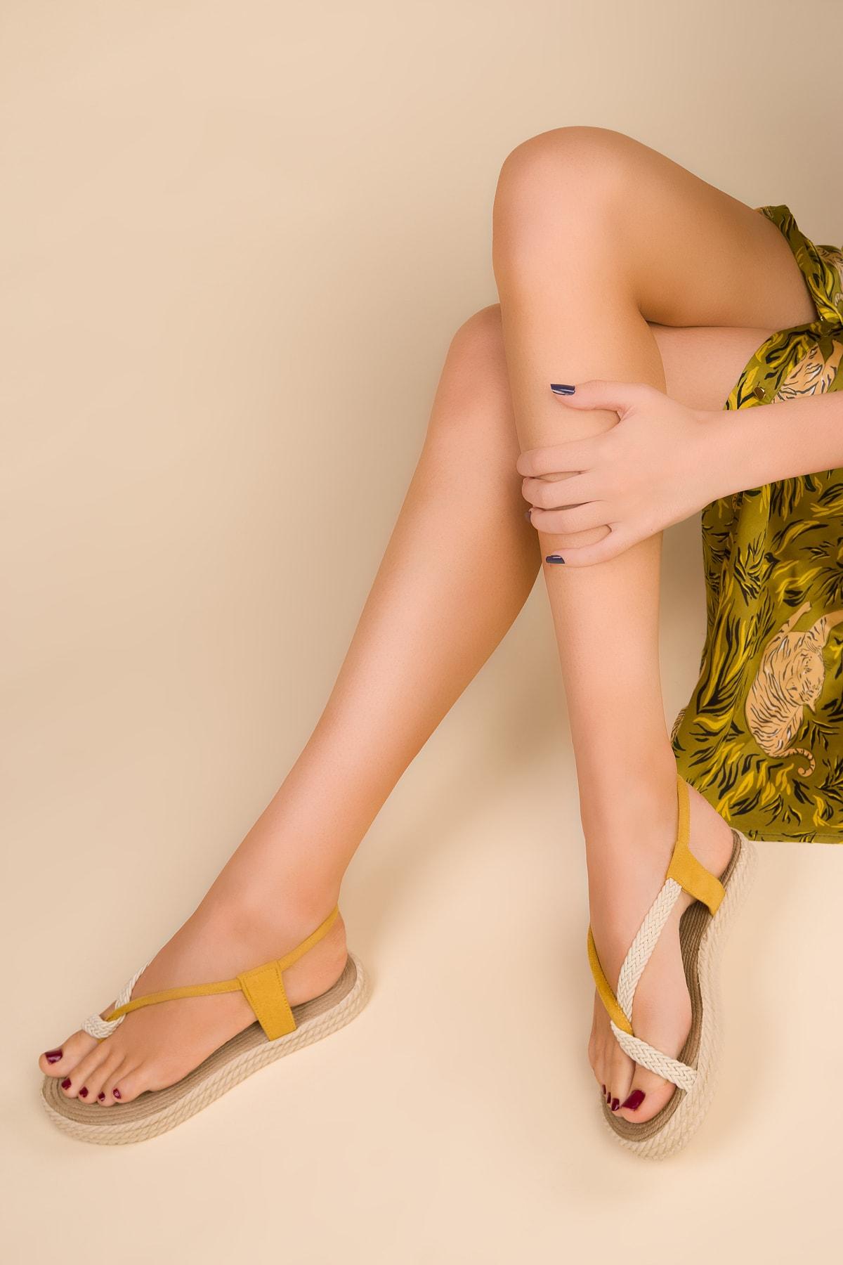 SOHO Hardal Sarı Suet Kadın Sandalet