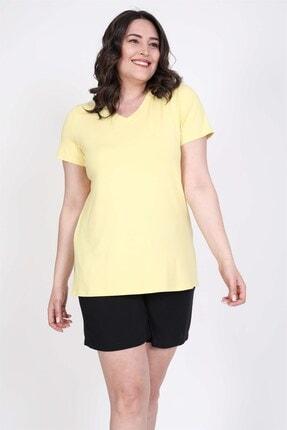 Picture of Kadın Sarı V Yaka T-Shirt