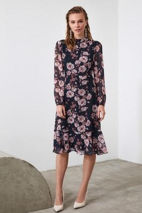 TRENDYOLMİLLA Lacivert Çiçek Desenli Elbise TWOAW20EL1313 3