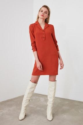 TRENDYOLMİLLA Kiremit Gömlek Yaka Elbise TWOAW21EL0163 4