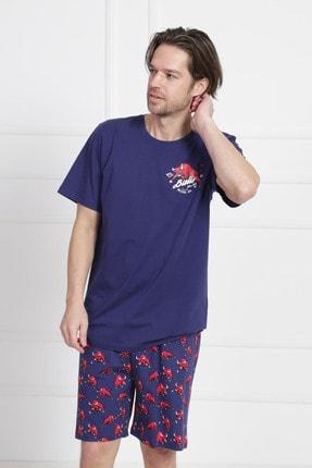 GAZZAZ Erkek İndigo Kısa Kol Suprem Şortlu Pijama Takım 1