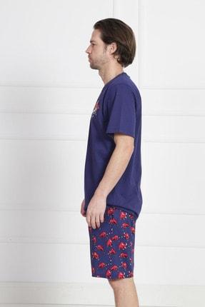GAZZAZ Erkek İndigo Kısa Kol Suprem Şortlu Pijama Takım 2