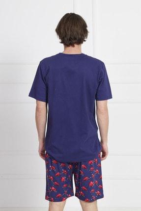 GAZZAZ Erkek İndigo Kısa Kol Suprem Şortlu Pijama Takım 3