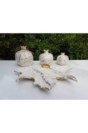 Artezza Home Tabaklı Üçlü Nar Seti Beyaz Altın Mermer Desenli 1
