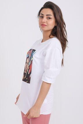 metropol tekstil Kadın Beyaz Kız Baskılı Bisiklet Yaka T-shirt Fvr-1920 2