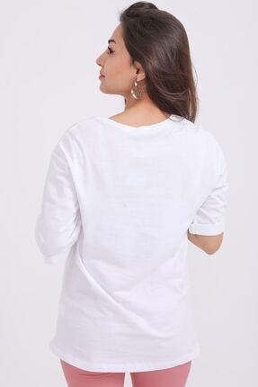 metropol tekstil Kadın Beyaz Kız Baskılı Bisiklet Yaka T-shirt Fvr-1920 3