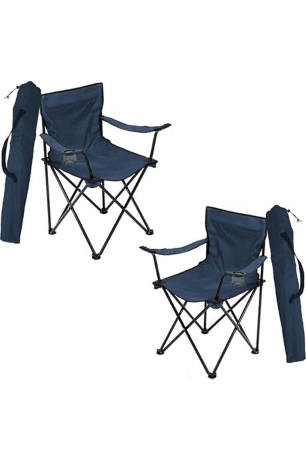 Lacivert Katlanır Çantalı Kamp Sandalyesi 2 Adet