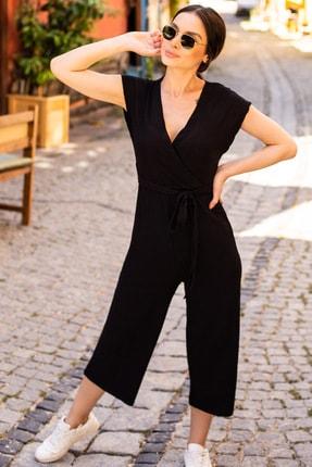 armonika Kadın Siyah Kruvaze Beli Kemerli Tulum ARM-20Y042008 0