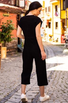 armonika Kadın Siyah Kruvaze Beli Kemerli Tulum ARM-20Y042008 2
