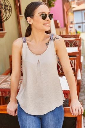 تصویر از Kadın Bej Etnik Askılı Bluz Arm-20Y001041