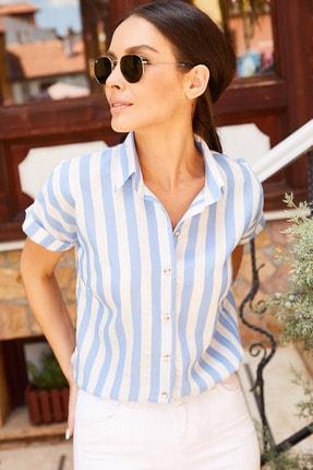 armonika Kadın Mavi Kalın Çizgili Kısa Kol Gömlek Arm-20Y001106 2