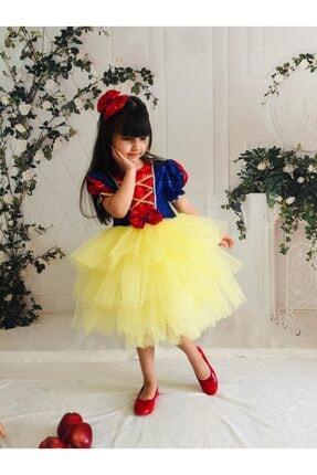 Buse&Eylül Bebe Kız Çocuk Sarı Pamuk Prenses Pul Payet Tütülü  Parti Elbisesi 3