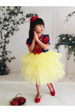 Buse&Eylül Bebe Kız Çocuk Sarı Pamuk Prenses Pul Payet Tütülü  Parti Elbisesi 4