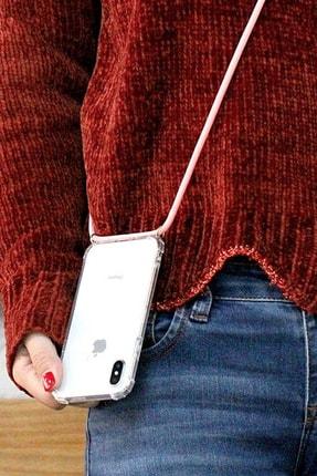MobileGaraj Galaxy Note 10 Uzy Şeffaf Boyun Askılı Pembe Şeritli Kılıf+kitap 4