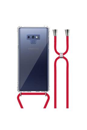 MobileGaraj Galaxy Note 9 Uzy Şeffaf Boyun Askılı Kırmızı Şeritli Kılıf+kitap 0