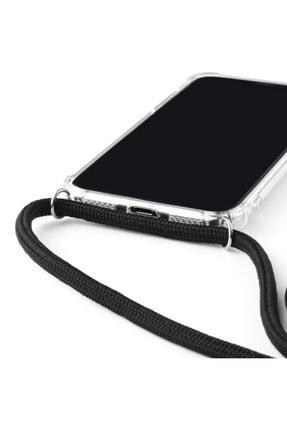 MobileGaraj Galaxy Note 10 Plus Uzy Şeffaf Boyun Askılı Siyah Şeritli Kılıf+kitap 3