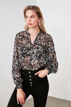 TRENDYOLMİLLA Siyah Çiçekli Gömlek TWOAW21GO0080 3