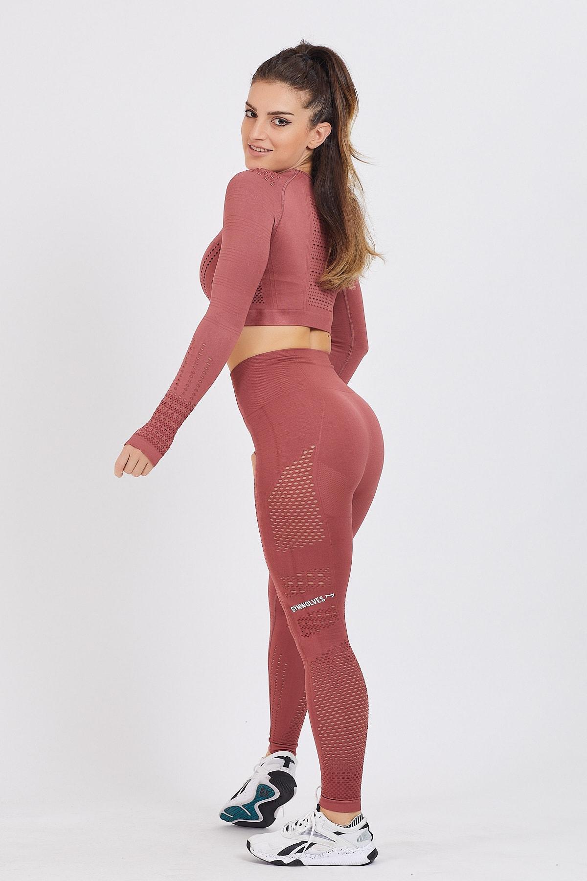 Gymwolves Kadın Uzun Kollu Dikişsiz Spor Tişört | Bordo | Crop Tops | Aktive Power Serisi 3