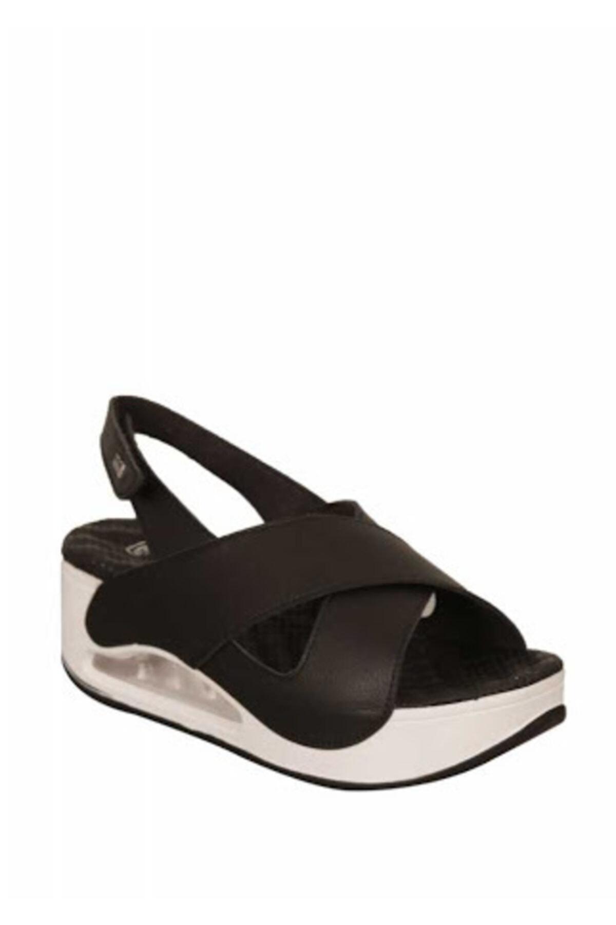 Muya Siyah/beyaz Dolgu Topuk Sandalet