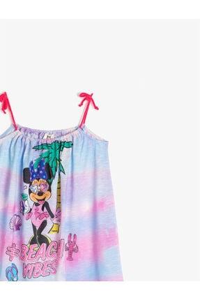 Koton Kız Çocuk Mavi Minnie Askılı Elbise 2