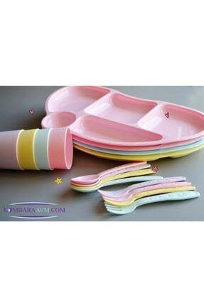 Pi İthalat Tabldot Çocuk Yemek Plastik Tabldot Set 4 Parça - Bölmeli Bardak Çatal Kaşıklı 1