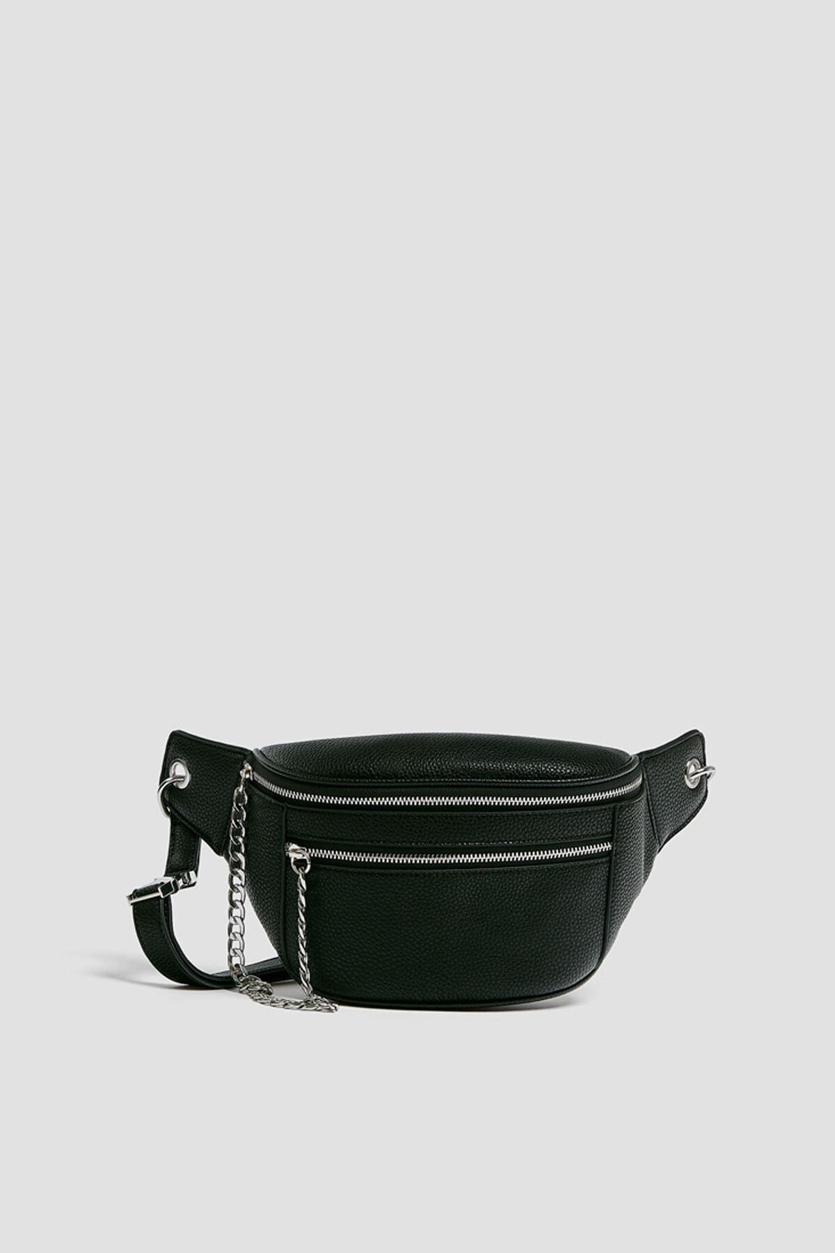 Pull & Bear Kadın Siyah Zincir Detaylı Bel Çantası 14007640 0