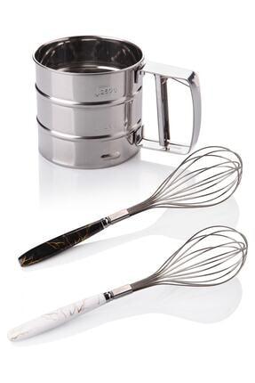 Queen's Kitchen Çelik Un Eleği Ve 2 Adet Lüx Çırpıcı 0